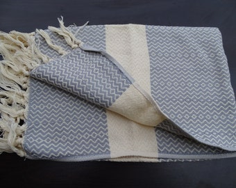 Gray colour Turkish diamond patterned soft natural cotton hand and face towel, neck towel, winter cotton scarf, baby care towel.