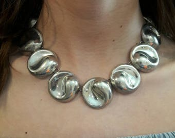 Dynamic Vintage Sterling Silver Taxco Necklace