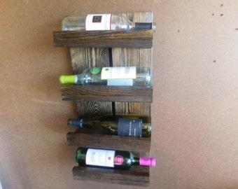 Wine Rack Rustic Wood 4 Tier Bottles Holder Wine Rack