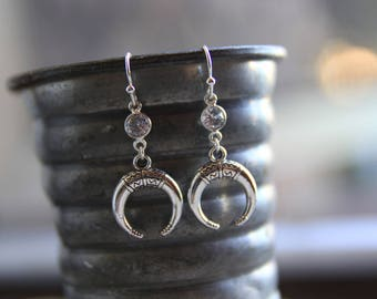 Silver Double Horn Earrings / Bohemian Earrings