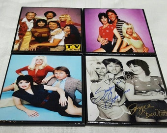 Threes Company Ceramic Tile Drink Coasters / Threes Company Drink Coaster Set