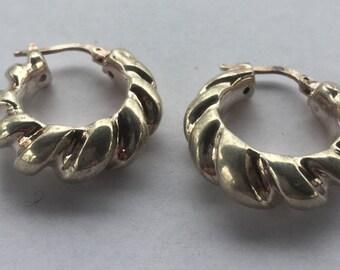 Vintage Fine Sterling Silver Scalloped Dangle Hoop Earrings 950 MILOR Italy