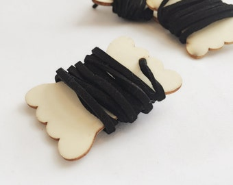 Black Faux Suede Cord + Reusable Wooden Spool Tag 1 Yard 3 mm