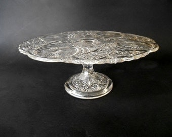 Antique Cake Stand on Foot - Art Deco Clear Glass Cupcake Stand - Vintage Transparent Glass Cake Display on Foot - European Glassware 1930s.