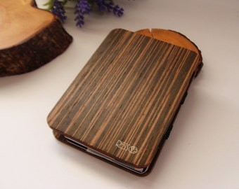 Wooden wallet, credit card wallet, women's and men's wallet, slim wallet, modern design wallet, magic wooden wallet, sucupirawood