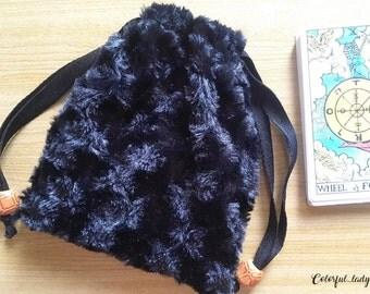 Handmade Tarot Pouch Bag Dice Pouch Bag Black Roses Velvet With Drawstring