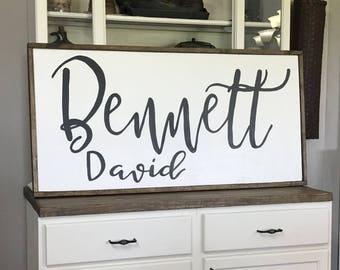 Custom Childs Name Sign Wood Framed Sign, baby shower gift