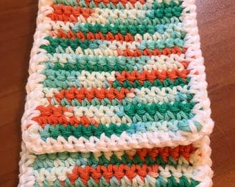 Green / Orange / White handmade crochet cell phone / iPhone pouch