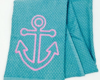 Pink and turquoise anchor nautical hand towel, embroidered hand towels, kitchen towels, nautical dish towels, personalized anchor towel
