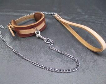 SALE - Brown Buffalo slimline Restraint Cuff to Black Chain leash (Set J31)