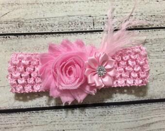 Pink Headband Pink Baby Headband Baby Headband Newborn Headband Shabby Chic Headband Pink Flower Headband Pink Shanby Headband