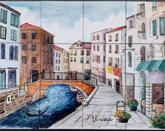 Backsplash Tile Mural of Venice - Beautiful Romantic Venetian Mural - Gondola - Venice Italy, Scenery Canal Bridge