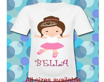 Personalized Ballerina T Shirt All Sizes available Ballerina T Shirt Ballerina Birthday Shirt Dance