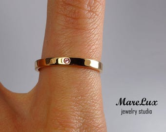 Natural Rose Tourmaline Rose Gold Filled Band, October Jewelry 1.5 mm Round Cut Rose Tourmaline Ring Thin 14K Rose Gold Fill Tourmaline Band