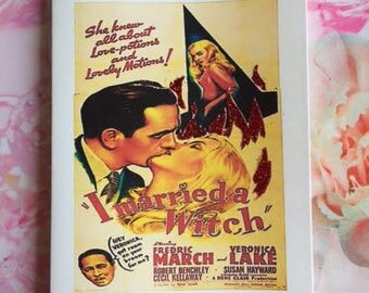 Classic Movie Poster Card - Veronica Lake 'I Married a Witch' Handmade Glitter Card / Greeting Card