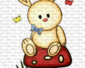Bunny on Mushroom Digital Stamp by Sasayaki Glitter