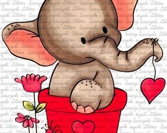 Image #18 - Valentine Elly - Digital Stamp by Sasayaki Glitter Digital Stamps - Naz - Line art only - Black and white