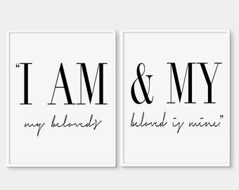 Scripture  Art Print  - I Am My Beloved's & My Beloved is Mine - Song of Solomon 6:3 - Bible Verse Print - Bible Verse - Christian Quote
