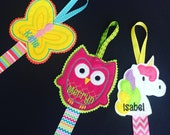 Owl Clippie Holders * Hair clip storage * bedroom decor * Cupcake Butterfly Unicorn * Personalised * Any colours possible * pink turquoise *