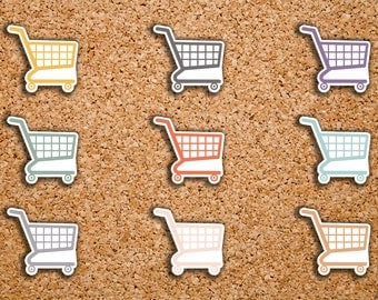 70 Grocery, Shopping Cart Icon Stickers for 2017 Inkwell Press IWP-DC38