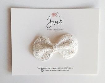 the BLING bow    SNOW; white bling bow, white glitter bow, white sequin bow