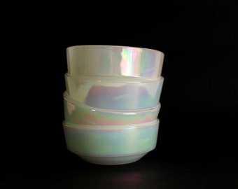 Federal Glass Pearl Lustre Dessert Bowls - Iridescent Moonglow Rainbow Cearal Bowls - Made in USA