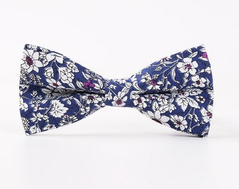 Men's Blue Floral Pre-Tied Bow tie  | Floral pretied Bow Tie | Bowtie | Wedding bow tie | Flower Tie | Floral tie | Groom |