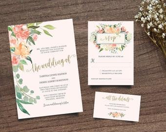 Gold Calligraphy Invite, Pink Peony Wedding Invite, Boho Chic Invite,  Leafy Invitation, Handpainted Invite, Calligraphy Invite, Wedding