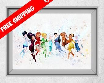 Disney Fairies Print, Disney Nursery Wall Art, Tinker Bell Watercolour Art, Nursery Girl Decor, Kids Bedroom Decorations
