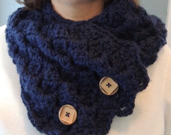 Crochet Cowl, Crochet Navy Cowl, Crochet Scarf, Crochet Navy Scarf, Gift for Her, Winter Scarf