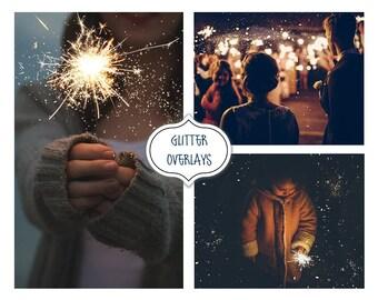 Glitter Effect Photo Overlays, Blowing Glitter Photoshop Overlays, Confetti Photo layer, Fairy dust effect, Bokeh overlay, Digital Backdrop