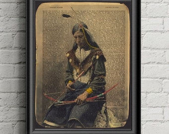 Native American Art Print- Sioux Chief Print - Dictionary Print- Man Cave Decor- Gift For Him - office Gift For Her