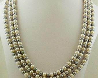 Freshwater Gray and White Triple Strand Necklace with Sterling Silver Lock