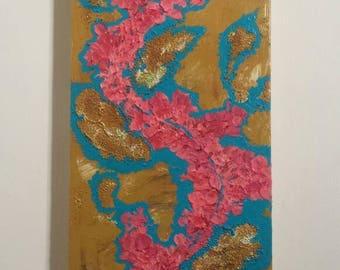 Oriental Flowers Original Acrylic Painting on Canvas