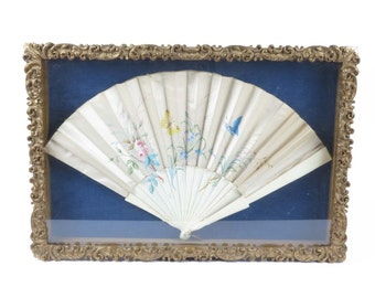 Antique satin hand fan hand painted in gold leaf shadowbox frame white blue pink vintage