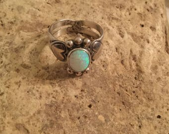 Sterling Silver & Lab Opal Ring