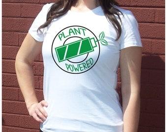 Vegan Plant Powered Hooper Funny workout T-shirt Womens Humorous  Graphic Screenprint