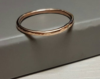 Rose gold filled stacking ring, thin band ring, dainty ring, hammered stackable ring band