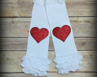 White Leg Warmers with Red Glitter Hearts Infant Leg Warmers Girls Leg Warmers Baby Girls Leg Warmers Toddler Leg Warmers Ruffled