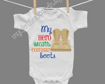 My Hero Wears Combat Boots Baby Boy Infant Boy Bodysuit