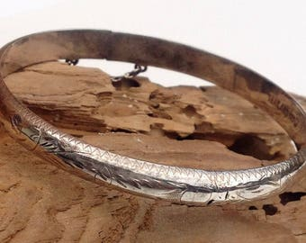 Sterling Silver Etched Hinged Bangle Bracelet, w/ Safety Chain