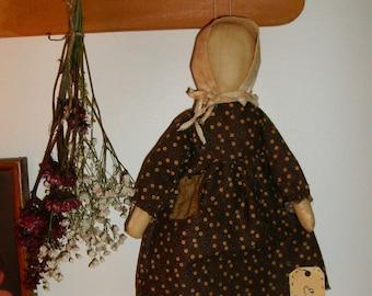 Primitive handmade Prairie doll with bonnet