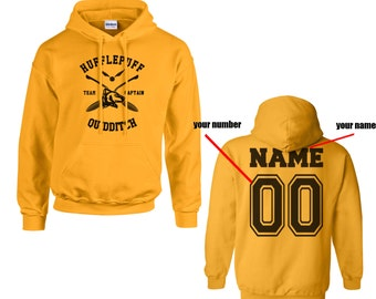 CAPTAIN - Custom Back, Huffle Quidditch team Captain Black print printed on Gold/Yellow Hoodie