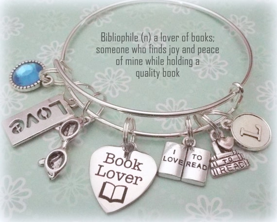 book lover gift, Christmas gift for best friend, personalized jewelry gift, gift for girlfriend, birthstone jewelry, initial jewelry