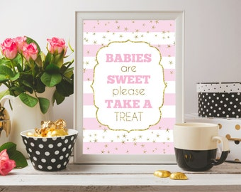 Babies Are Sweet Please Take A Treat, Baby Shower Party Favor Sign, Take A