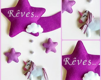 Baby crib mobile or wall decoration door plate . unicorn star cloud.... dreams  felt mobile