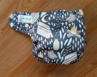 Moonlight Campout cloth diaper - AIO cloth diaper - hemp bamboo diaper - One size cloth diaper - newborn - Camping - fireflies - campfire