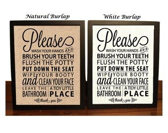 Bathroom Rules Burlap print, Bathroom decor, Funny Bathroom art, Home decor, Bathroom Wall Decor, wash your hands, brush, flush, wipe