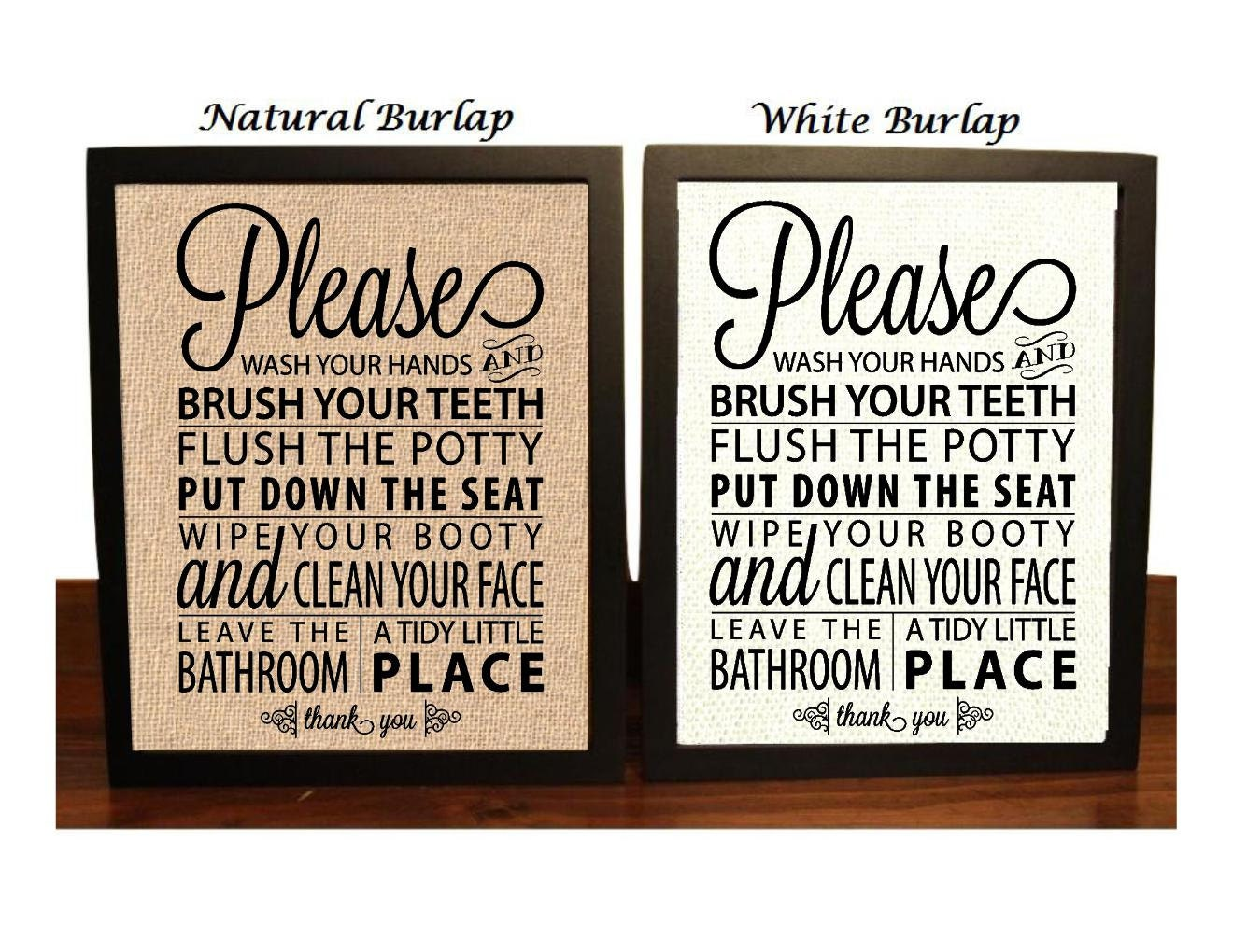 Bathroom rules burlap print bathroom decor funny bathroom for Bathroom decor rules
