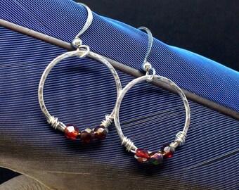 Hoop Earrings, Sterling Silver Earrings, Drop Earrings, Hammered Hoop Earrings, Dangle Drop Earrings, Ruby Fire Polished Beads